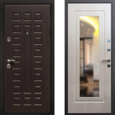 Фото дверь ДМ Премиум 3 Зеркало Беленый дуб