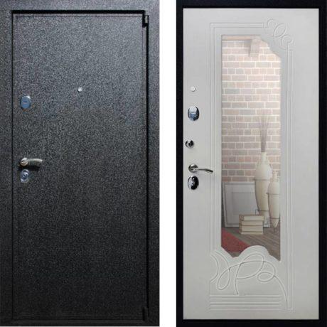 Фото дверь ДМ 3 Зеркало Ясень белый