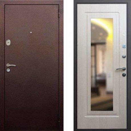 Фото дверь ДМ 1А Зеркало Беленый Дуб