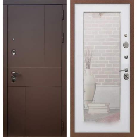 Фото дверь ДМ 16 Зеркало пастораль Белый ясень