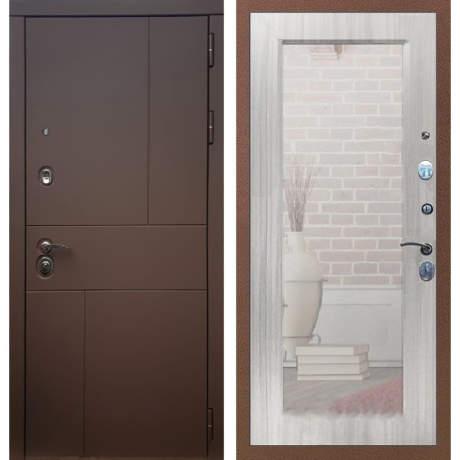 Фото дверь ДМ 16 Зеркало пастораль Сандал белый